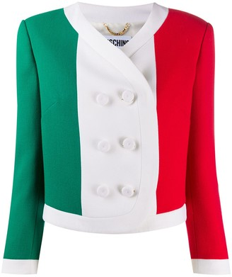 Moschino Italian flag print cropped jacket