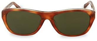 Linda Farrow 57MM Rectangle Tortoise Shell Sunglasses