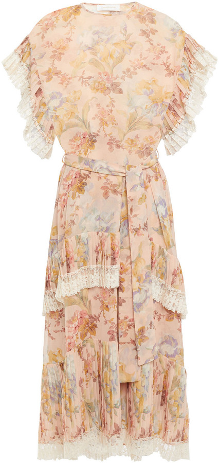 Zimmermann Espionage Lace-trimmed Pleated Floral-print Chiffon Midi Dress