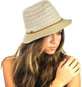 NYFASHION101 Braided Trim Spring Summer Cotton Lace Vented Fedora Hat