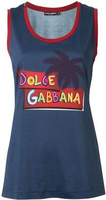 Dolce & Gabbana Palm Tree Logo Print Tank Top