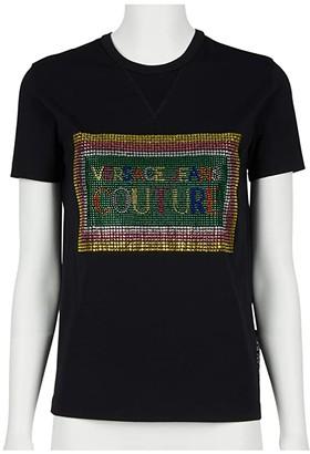 Versace Short Sleeve Cropped Tee w/ Embellished Boxed Logo (Black) Women's Clothing