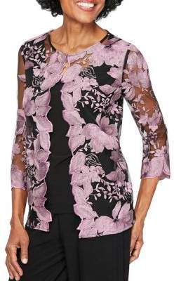 Alex Evenings Floral Embroidered Mock Twinset