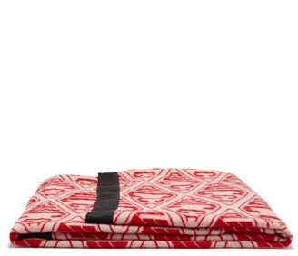 Gucci Rabbit-applique Wool-jacquard Blanket - Pink Multi
