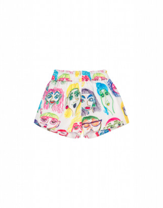 Moschino Faces All Over Shorts Unisex White Size 2a