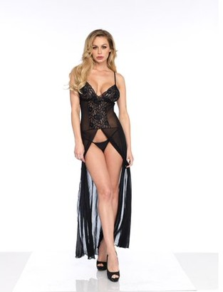 Leg Avenue Women's 2 PC. Mesh and Lace High Slit Long Gown and g-String Panty, Black, O/S