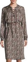Three Dots Selena Leopard-Print Dress, Natural
