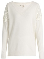 Chloé Lace-insert V-neck wool and cashmere-blend sweater