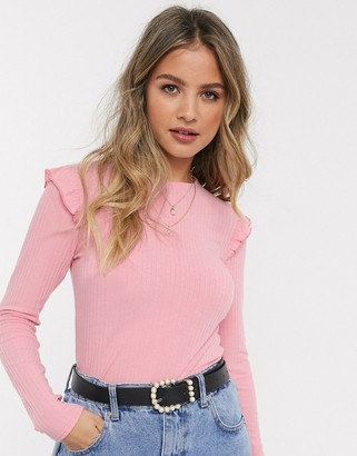New Look frill long sleeve top in pink