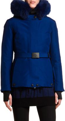 MONCLER GRENOBLE Laplance Belted Jacket w/ Fur Collar