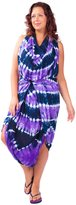 1 World Sarongs Womens PLUS Jungle Tie Dye FRINGELESS CoverUp Sarong Purple