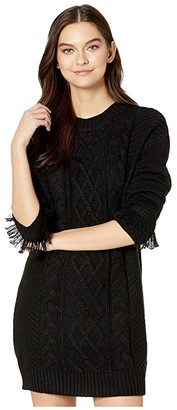 BB Dakota Cable That Way Front Sweater Dress with Wrist Fringe