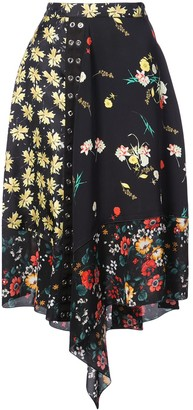 Derek Lam Asymmetrical Mixed Print Skirt