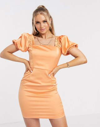 Love & Other Things satin puff sleeve mini dress in orange