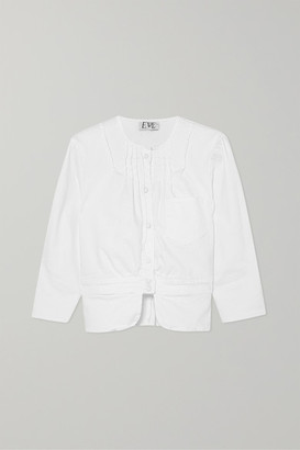 Eve Denim Prudence Pintucked Stretch-denim Peplum Jacket - White