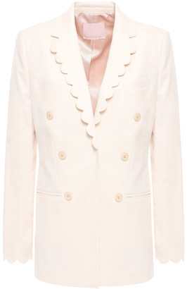 Rebecca Taylor Double-breasted Scalloped Cotton-blend Blazer