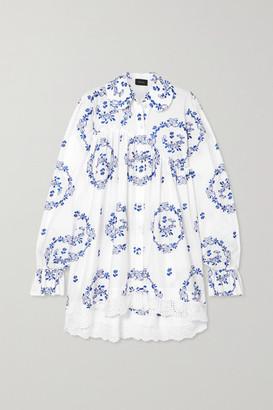 Simone Rocha Embroidered Ruffled Cotton-blend Poplin Shirt - White