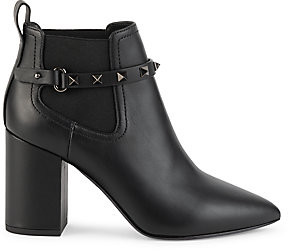 Valentino Women's Garavani Beatle Rockstud-Strap Leather Mix Media Ankle Boots
