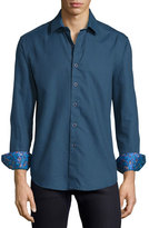 Robert Graham Kieran Tonal Fine-Stripe Sport Shirt, Blue