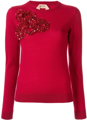 No.21 Sequinned Ruffle Sweater