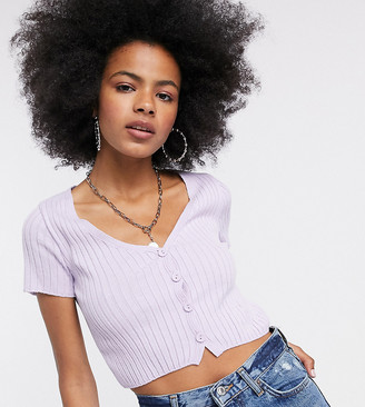 Collusion cropped short sleeve ribbed cardigan in lilac