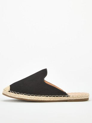 Very Maeve Wide Fit Backless Flat Espadrille - Black