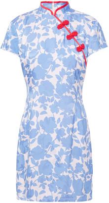 De La Vali Suki Satin-trimmed Embellished Floral-jacquard Mini Dress