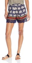 Angie Women's Navy Printed Lace Trimmed Shorts