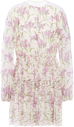 Giambattista Valli Lace-trimmed Pleated Floral-print Silk-chiffon Mini Dress