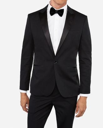 Express Slim Black Satin Peak Lapel Stretch Tuxedo Jacket