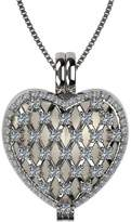 Nana Sterling Silver Heart Locket Mother's Pendant Yellow Gold Plated - Diamond Simulated Birthstone - April