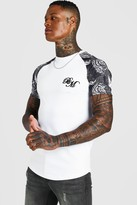 boohoo Mens White B&M Muscle Fit Embroidered Animal Print T-Shirt, White