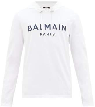 Balmain Logo-applique Cotton Hooded Long-sleeved T-shirt - Mens - White