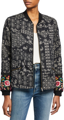 Johnny Was Embroidered Quilted Seamed Bomber Jacket