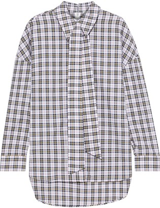 Tibi Kingston Tie-neck Checked Cotton Shirt