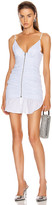 Alexander Wang Ruched Front Zipper Cami Dress in White & Blue Stripe | FWRD