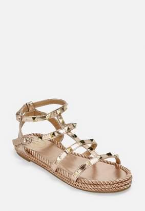 Missguided Rose Gold Espadrille Stud Gladiator Sandals
