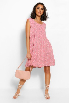 boohoo Ditsy Floral Sleeveless Smock Dress