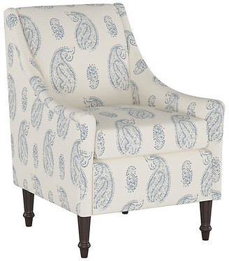 One Kings Lane Holmes Accent Chair - Denim Paisley