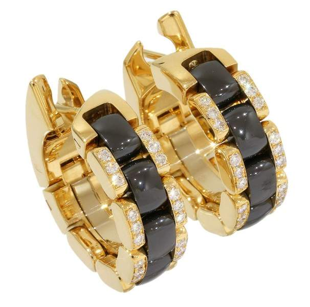 Chanel 18K Yellow Gold & Black Ceramic Ultra Collection Diamonds Design Earrings