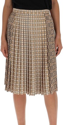 Burberry Contrast Graphic Pleated Skirt