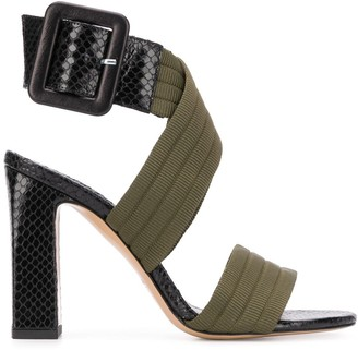 Pinko Embossed Wrap Buckle Sandals