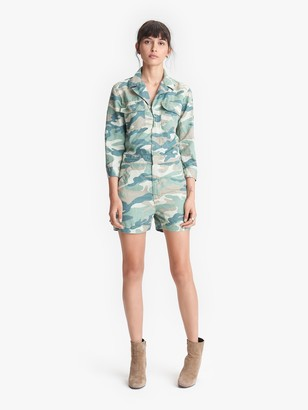 Mother The Fixer Romper - Blue Green Camo