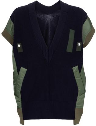 Sacai Paneled cotton-blend sweater vest