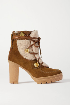 See by Chloe Leather-trimmed Suede And Shearling Ankle Boots - Tan
