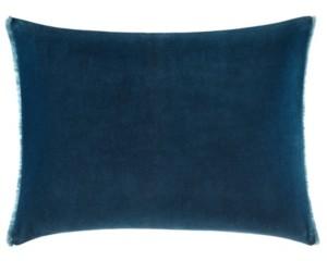 Vera Wang Blurr Dark Blue Velvet Fringed Throw Pillow Bedding