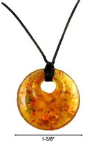 Murano Necklace - N73 Glass Style - Round Shape ~ Topaz with Flecks