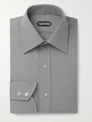 Tom Ford Grey Slim-Fit Cotton-Poplin Shirt
