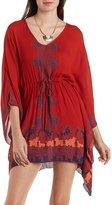 Charlotte Russe Kimono Sleeve Boho Print Shift Dress
