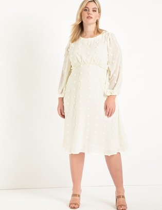 ELOQUII Dot Chiffon Dress
